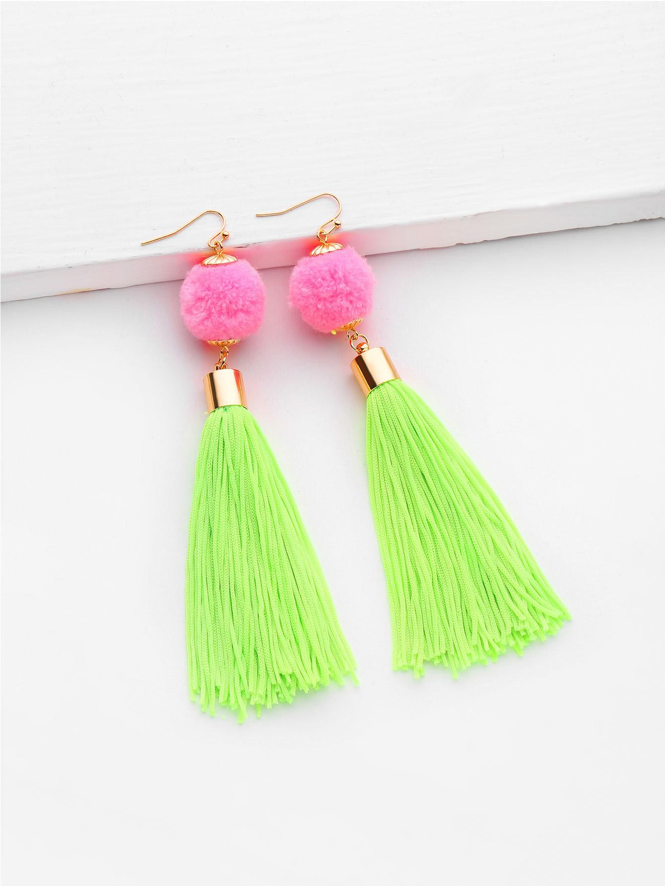 Pom Tassel Design Drop Earrings Shein Sheinside