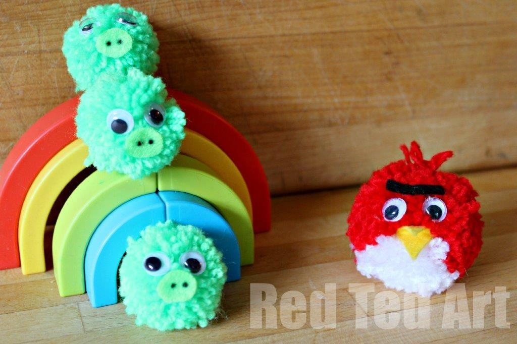 Pompom Crafts Angry Birds Red Ted Art Blog