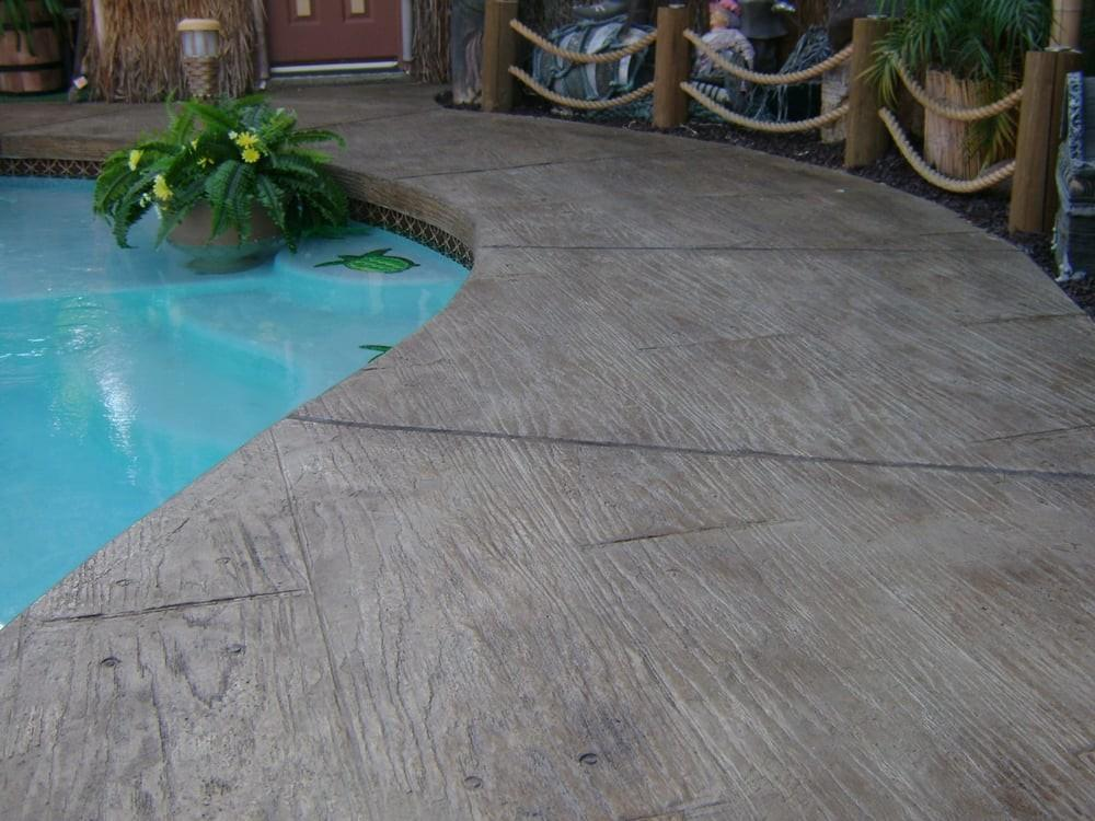 Pool Deck Wood Design Stamped Concrete Overlay Yelp