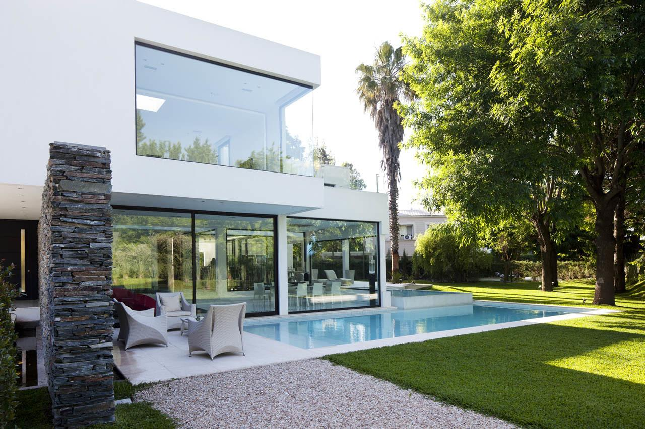 Pool Glass Walls Lawn Modern House Pilar Buenos Aires