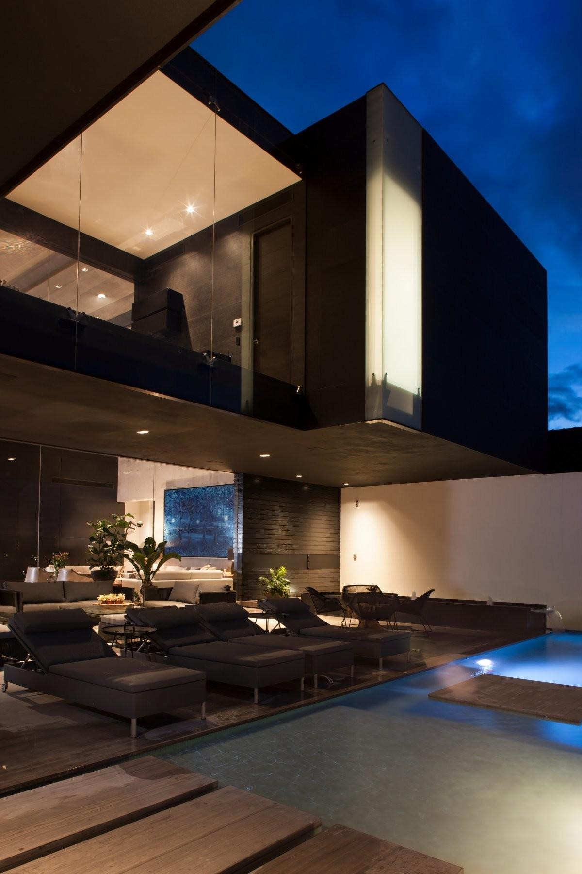 Pool Terrace Lighting Stylish Contemporary Home