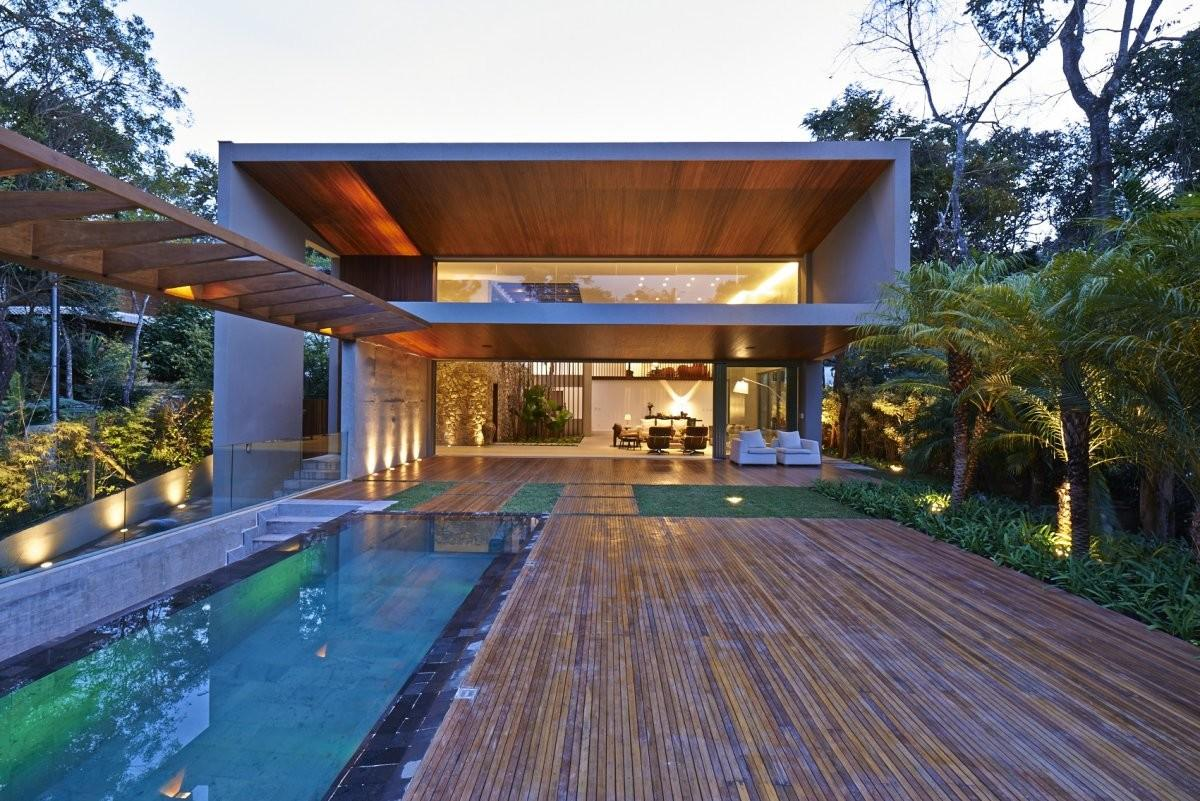 Pool Wooden Terrace Outdoor Living Contemporary Home