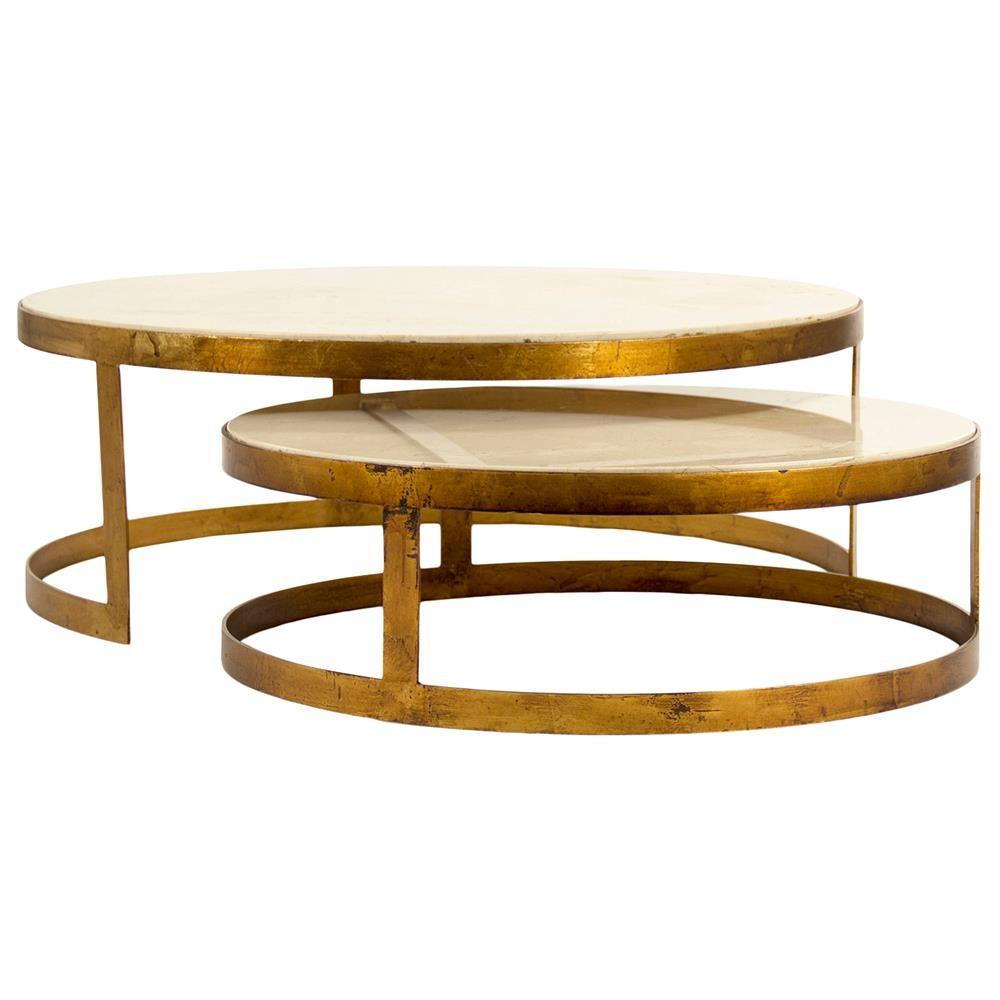 Portia Global Ivory Stone Gold Nest Round Coffee Tables