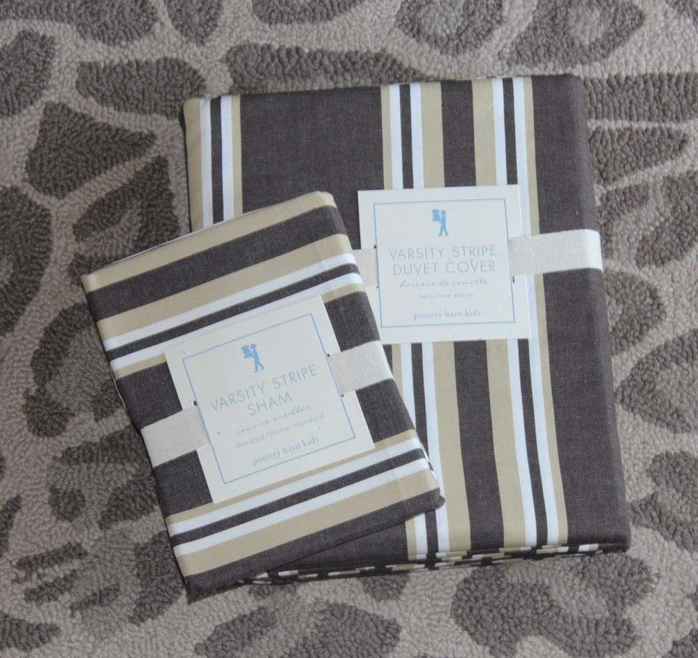 Pottery Barn Kids Varsity Stripe Duvet Cover Sham Twin