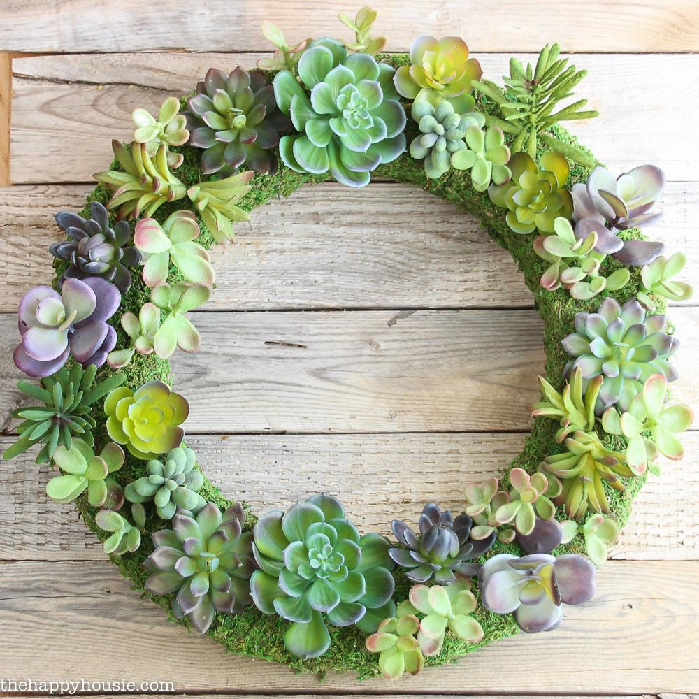 Pottery Barn Knock Faux Succulent Wreath Happy