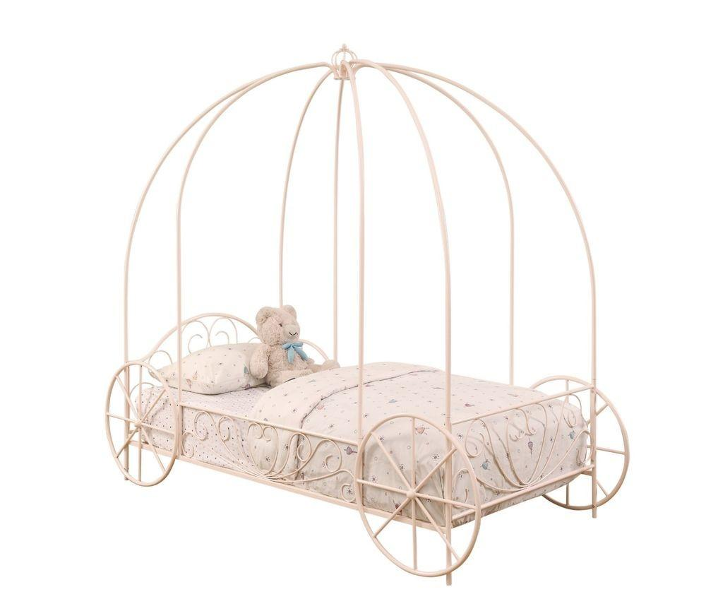Powder Pink Carriage Princess Girl Twin Canopy Bed