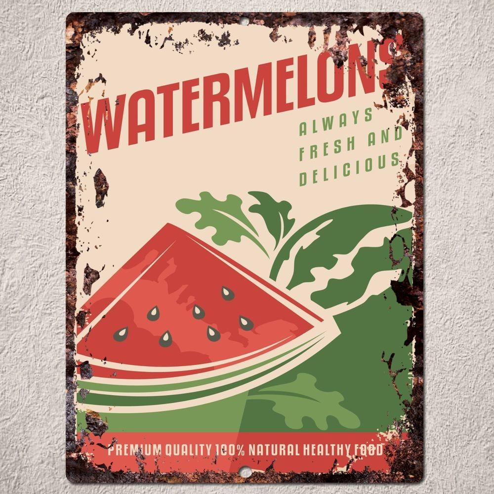 Pp0155 Rust Watermelons Sign Kitchen Shop Cafe Restaurant