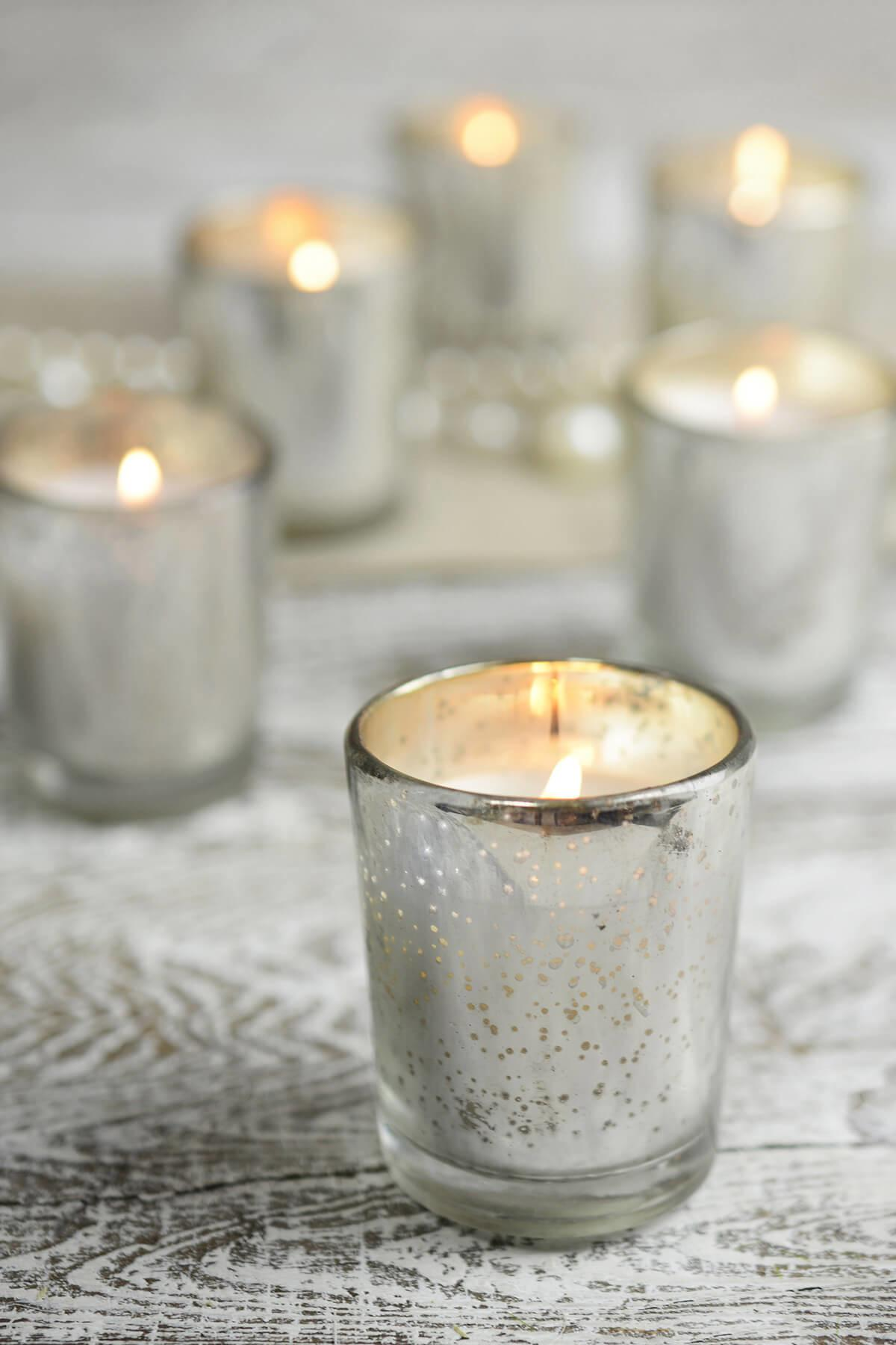 Pre Filled Candles Mercury Glass Votive Holders