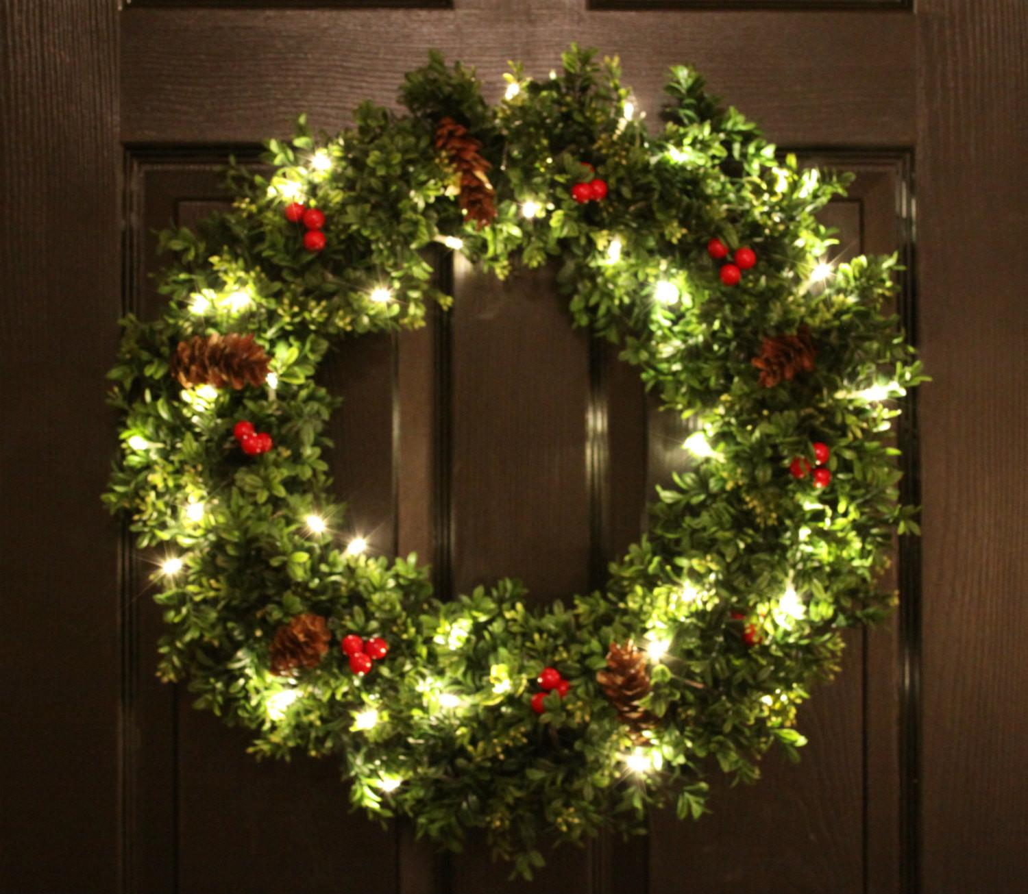 Pre Lit Boxwood Christmas Wreath Artifical Welovewreaths