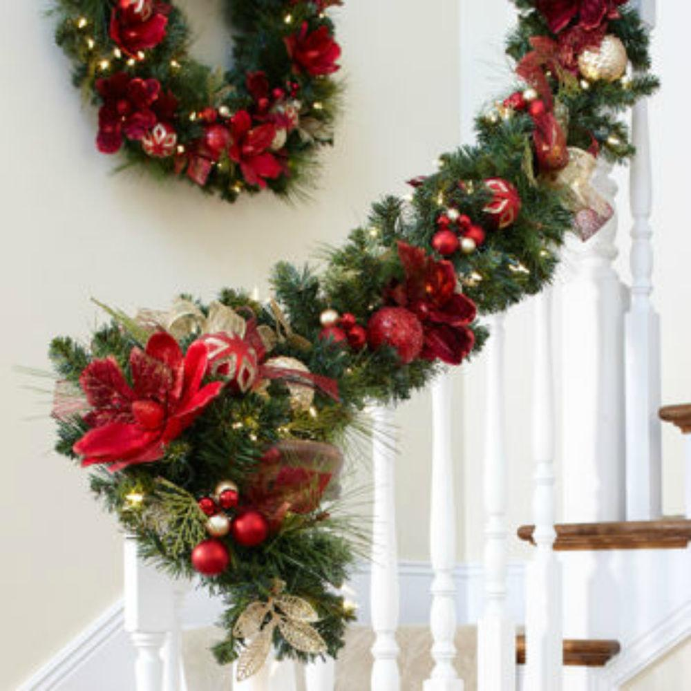 Pre Lit Decorated Garland Led Lights Christmas