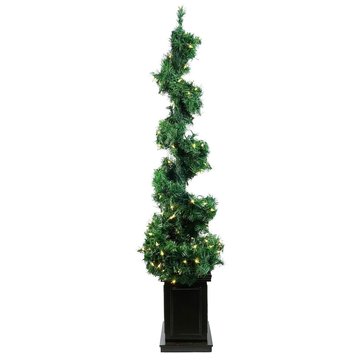 Pre Lit Helix Spiral Potted Artificial Topiary Tree