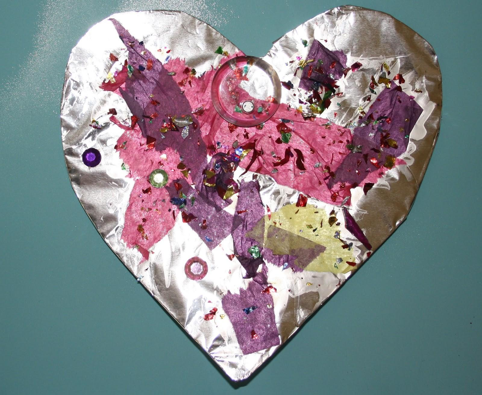 Preschool Crafts Kids Valentine Day Foil Hearts