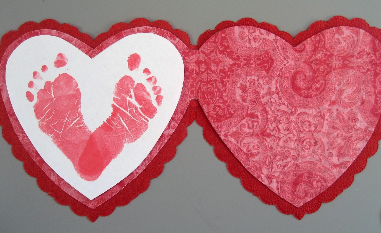 Preschool Crafts Kids Valentine Day Footprint Card