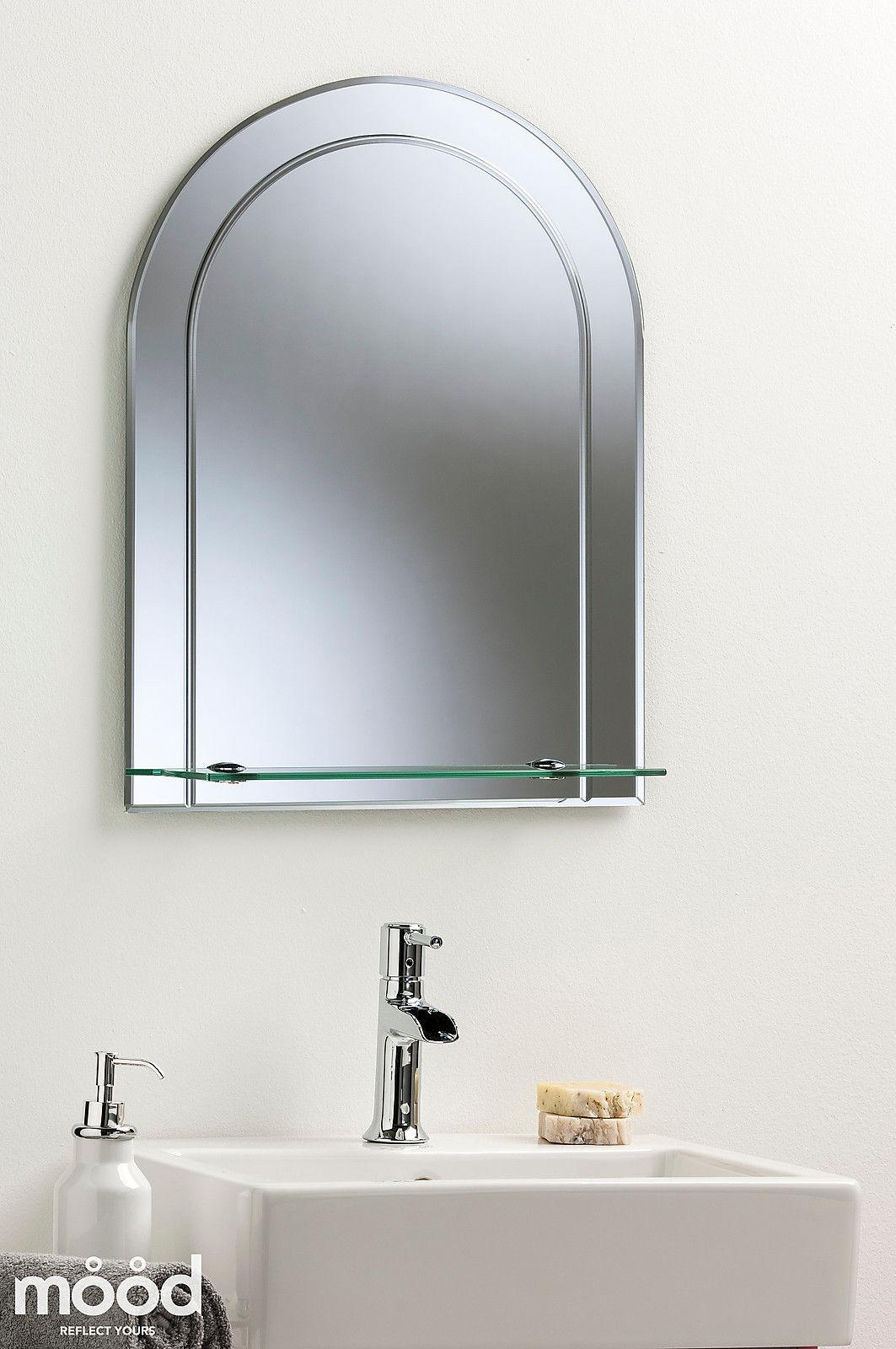 Pretty Arch Bathroom Wall Mirror Modern Stylish Shelf