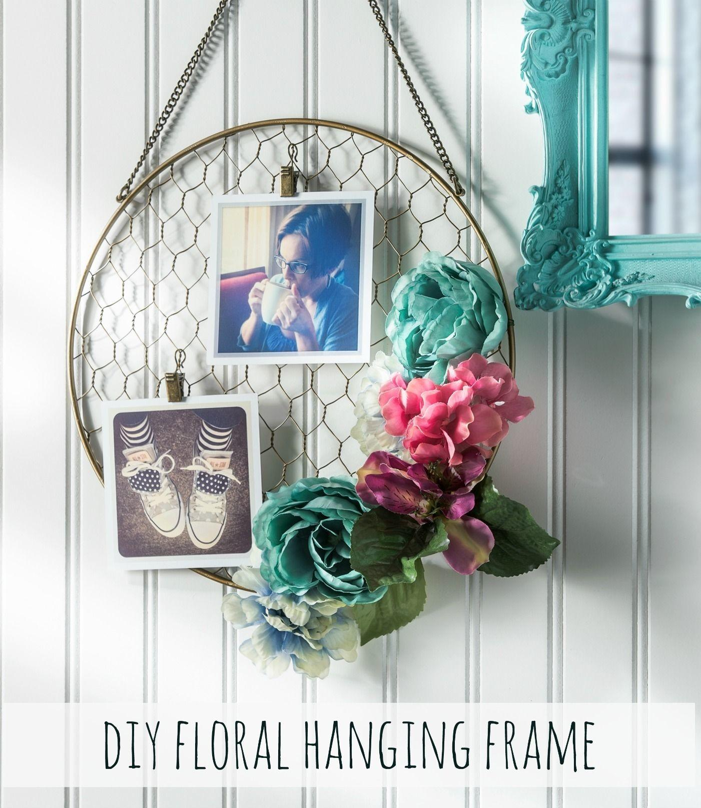 Pretty Diy Floral Hanging Frame Photos Faux Flowers