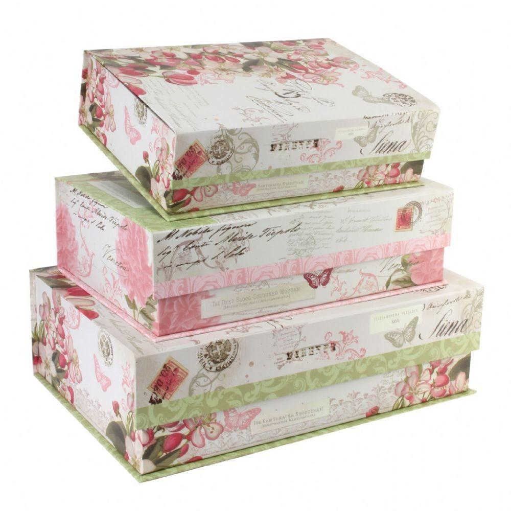 Pretty Floral Storage Boxes Tri Coastal Pink Green
