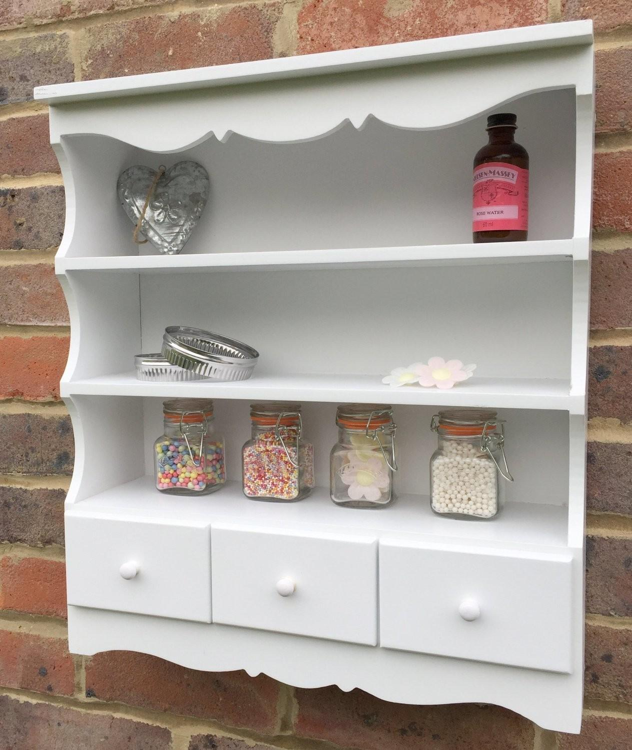 Pretty Ivory Wall Shelving Unit Shabby Chic Guru