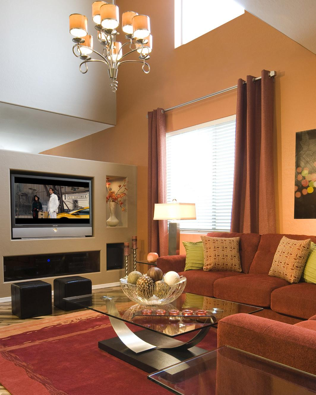 Pretty Living Room Beige Accents Wall Feat Brown
