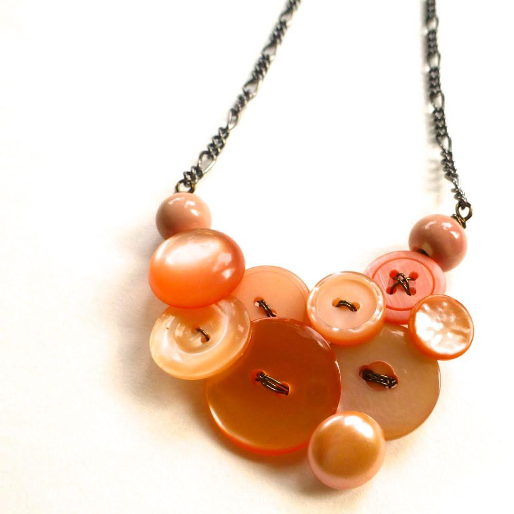 Pretty Peach Vintage Button Necklace Buttonsoupjewelry