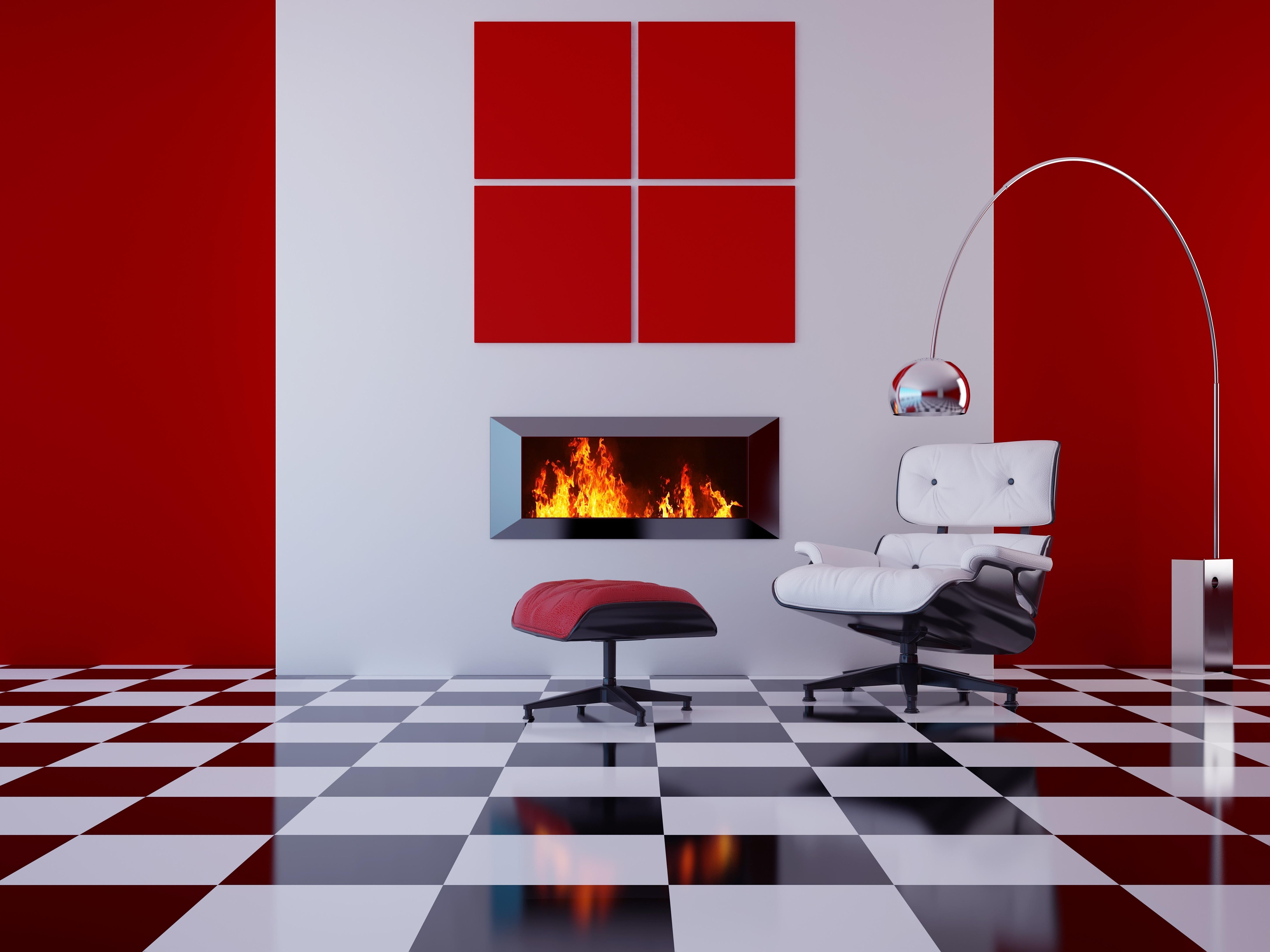 Pretty Red White Wall Pattern Also Modern Tufted