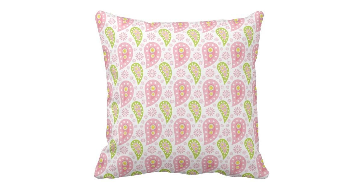 Pretty Spring Paisley Throw Pillow Zazzle