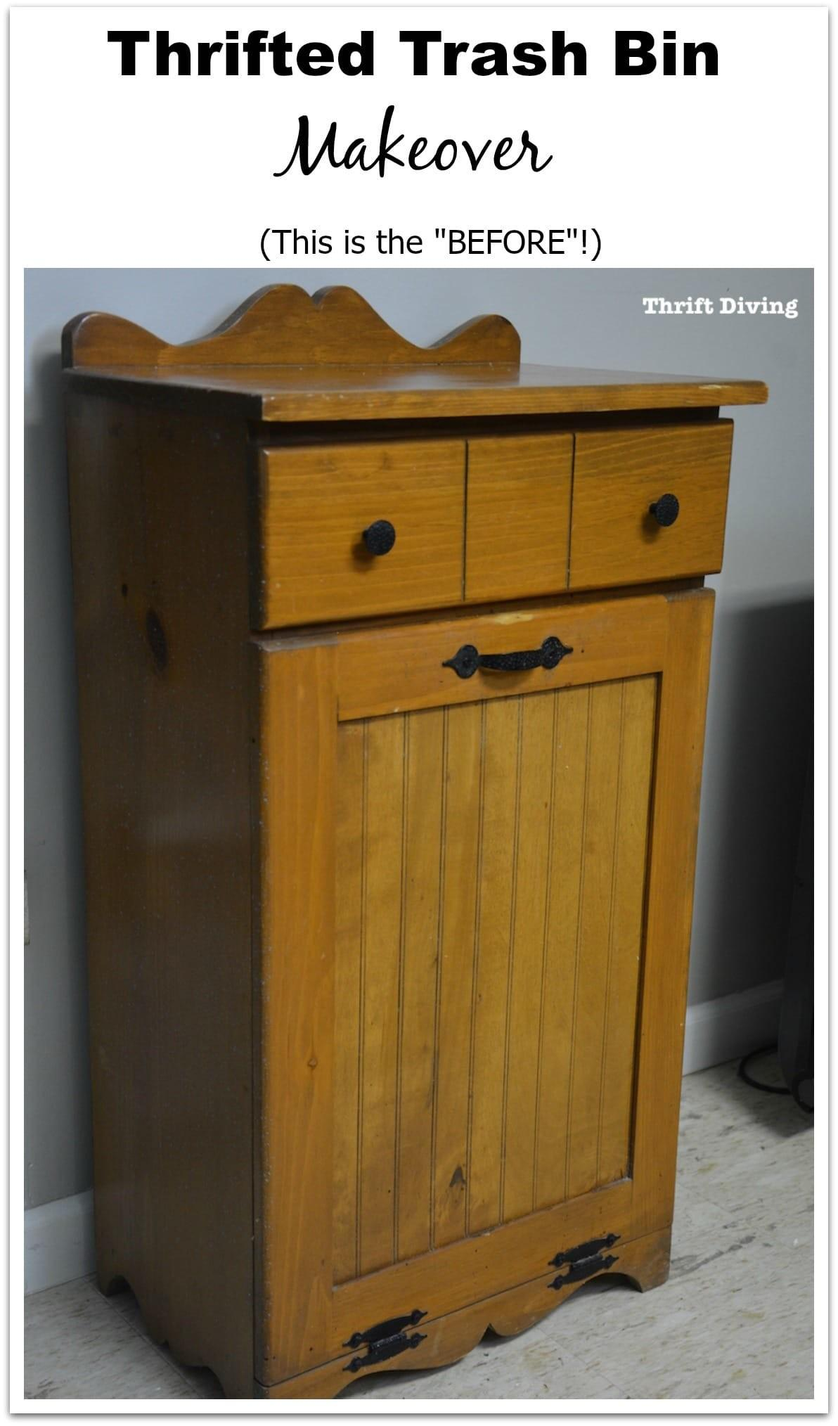 Pretty Wooden Trash Can Makeover Thrift Store