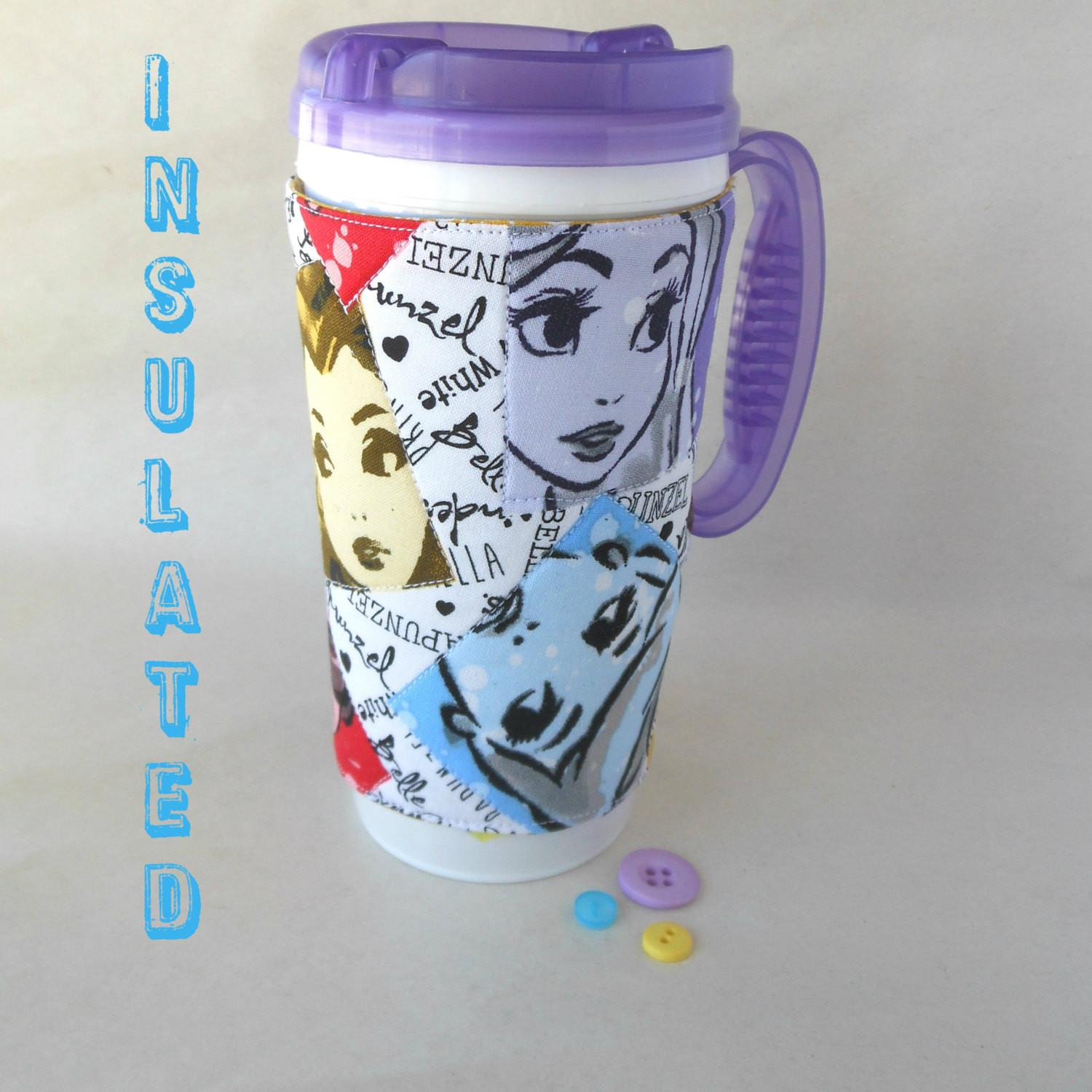 Princess Coffee Cup Cozy Insulated Straw
