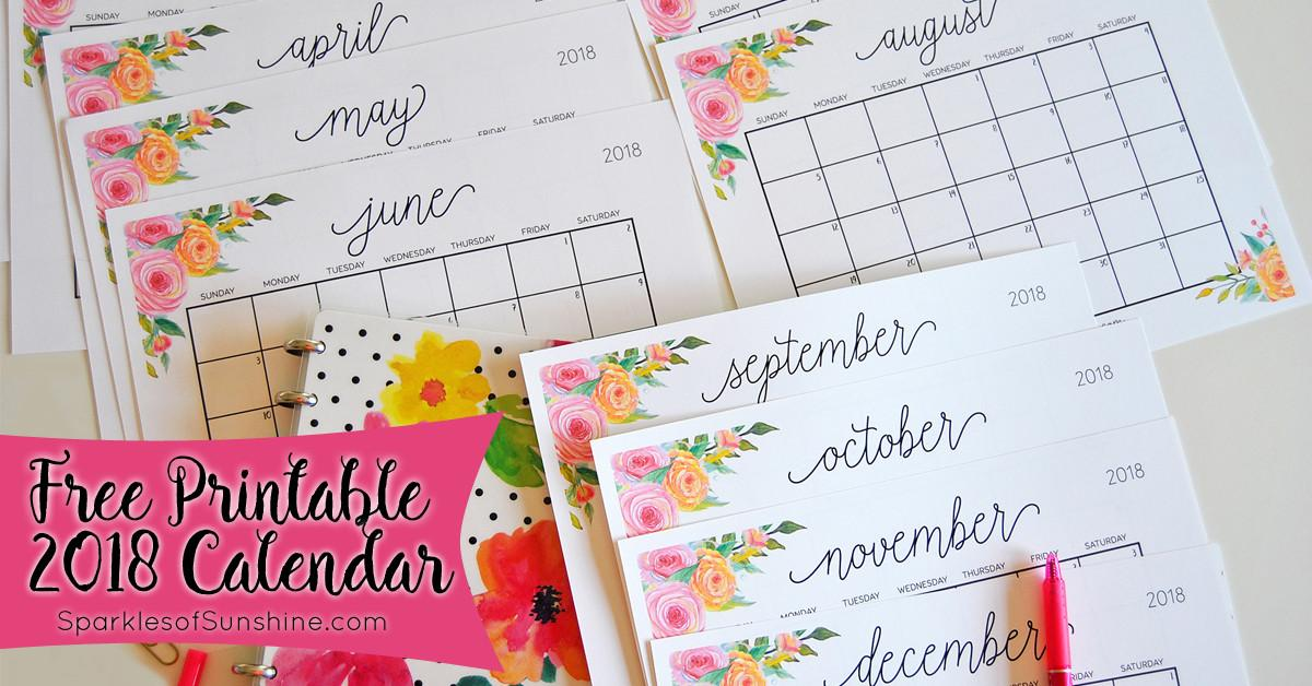Printable 2018 Monthly Calendar Weekly Planner