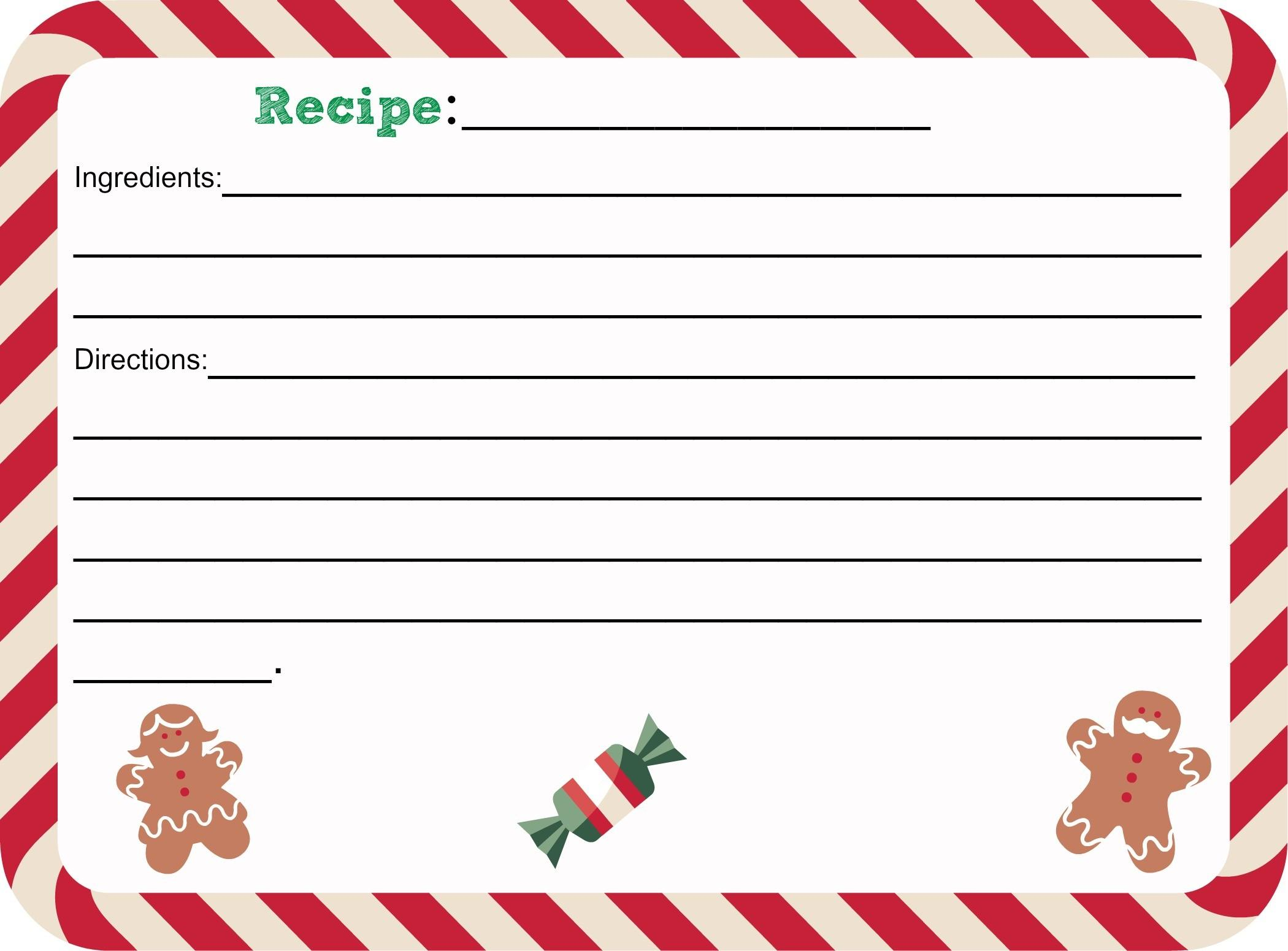 Printable Christmas Recipe Card Shesaved