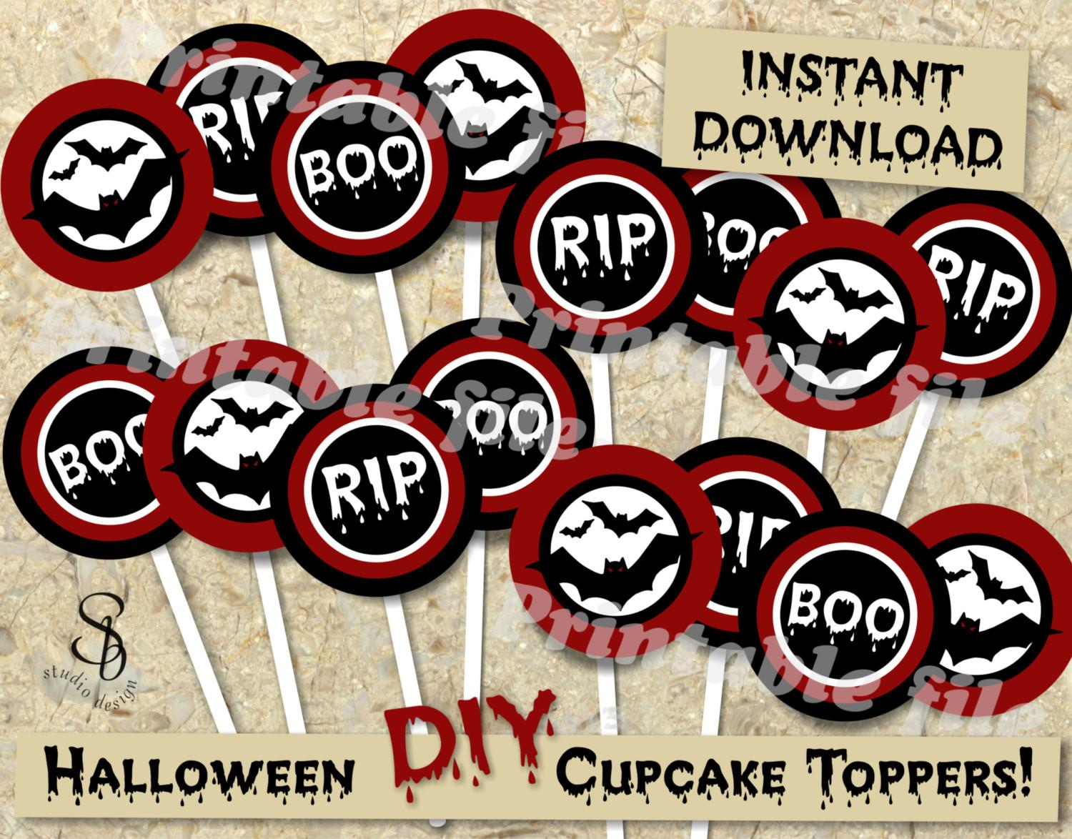 Printable Diy Halloween Cupcake Toppers Template Instant