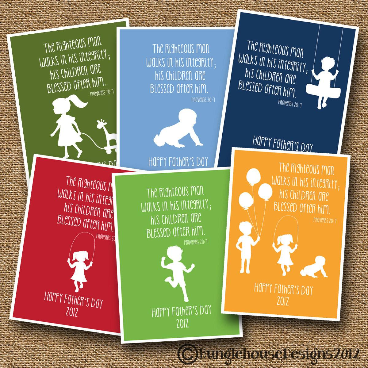 Printable Father Day Card Children Silhouette