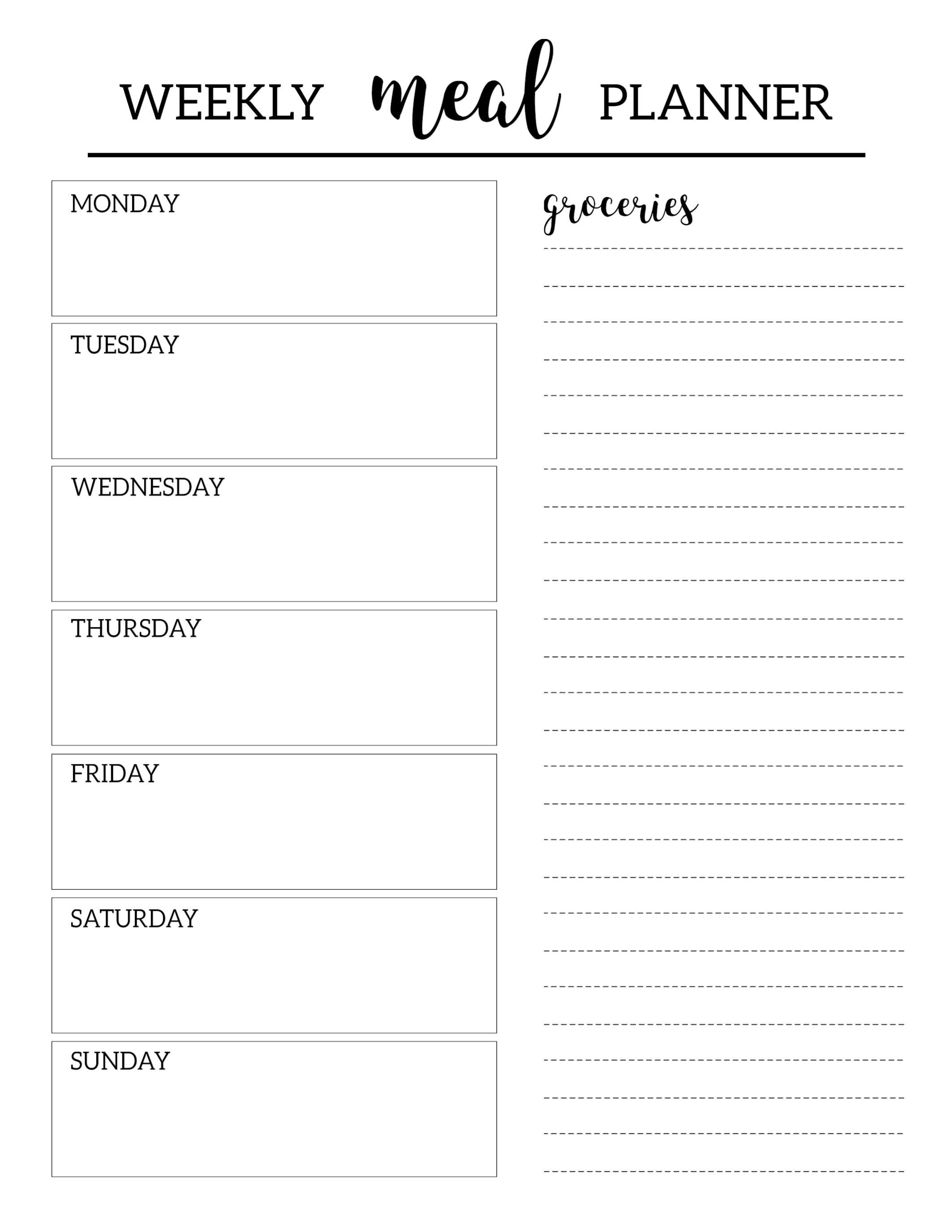 Printable Meal Planner Template Paper Trail Design