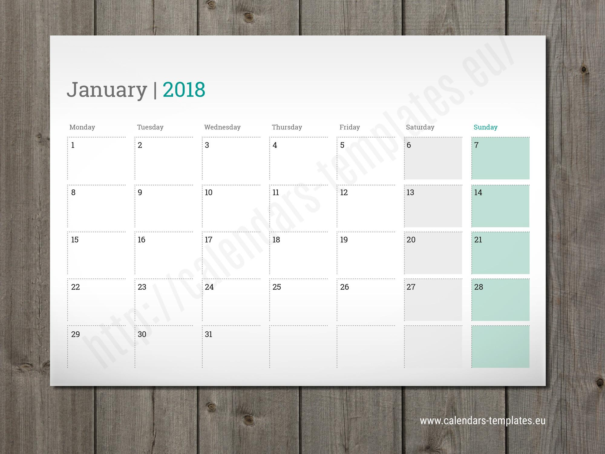 Printable Monthly Planner 2018 Desk Wall Table Pad