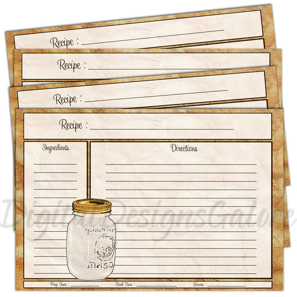 Printable Recipe Cards Pdf Diy