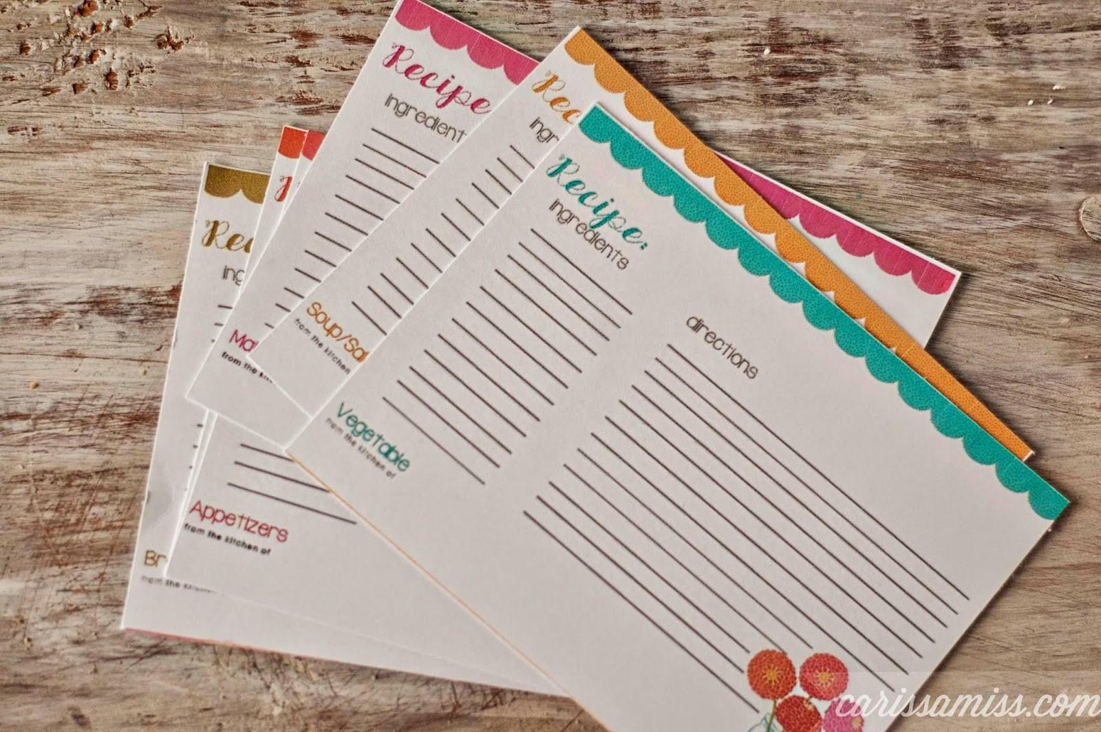Printable Recipe Cards Sugar Bee Crafts