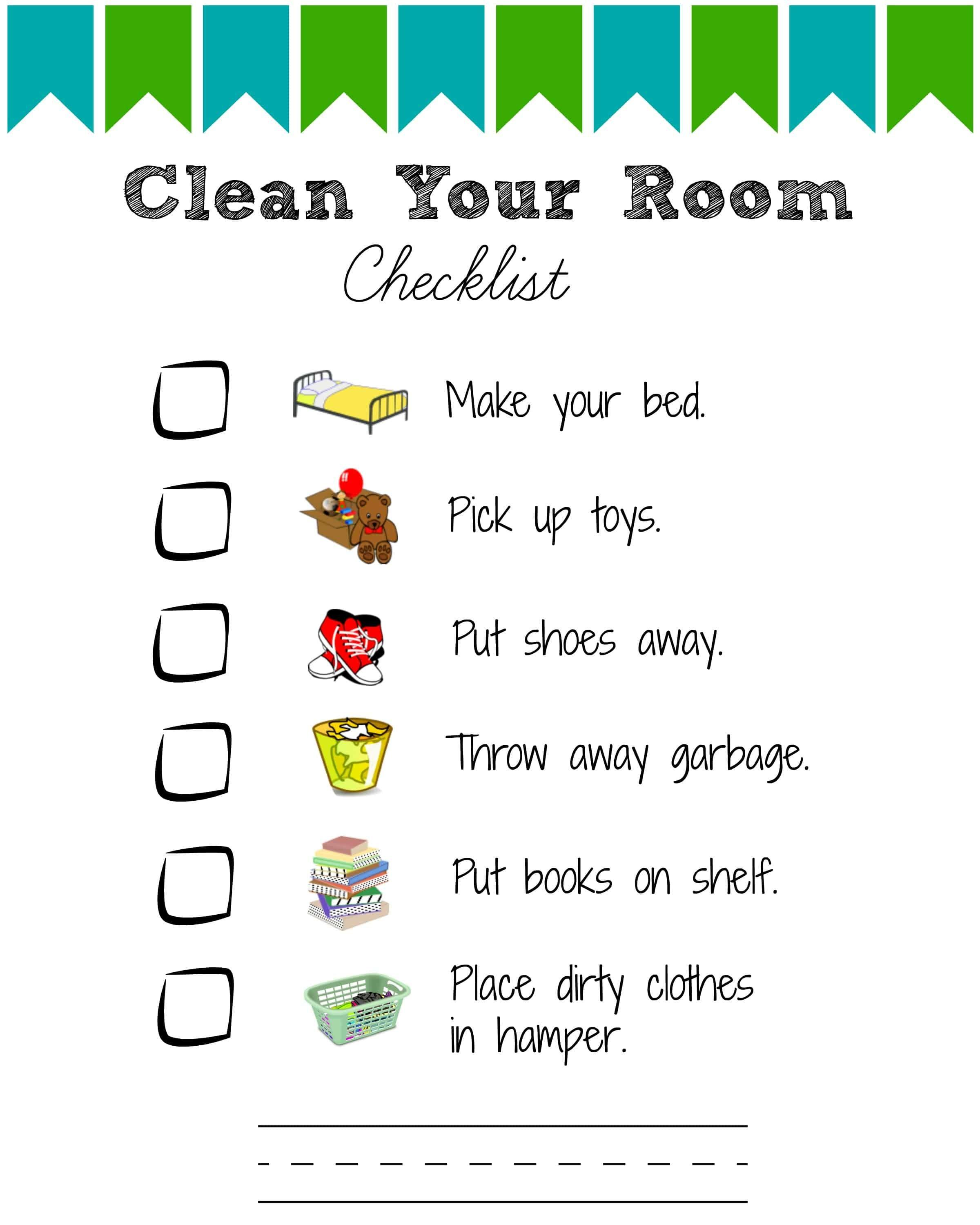 Printable Room Cleaning Checklists Kids Views