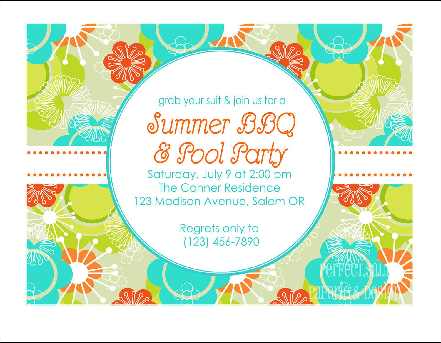 Printable Summer Party Invitation Pool