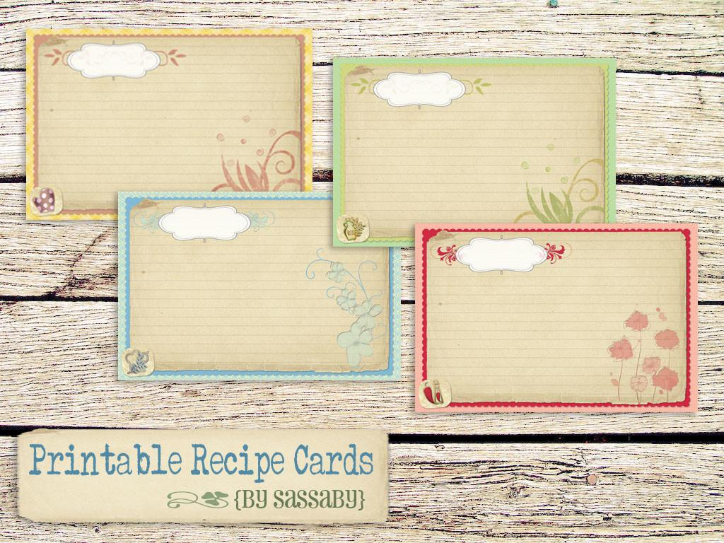 Printables Recipe Cards Vintage