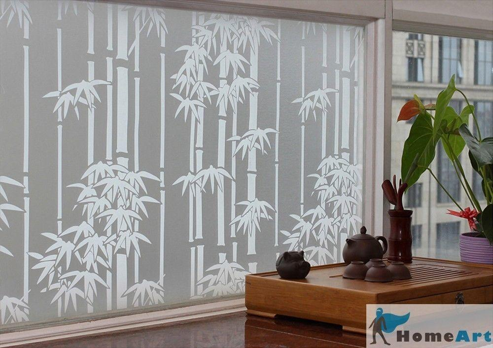 Privacy Window Film Bamboo Decorative Glass Frosted