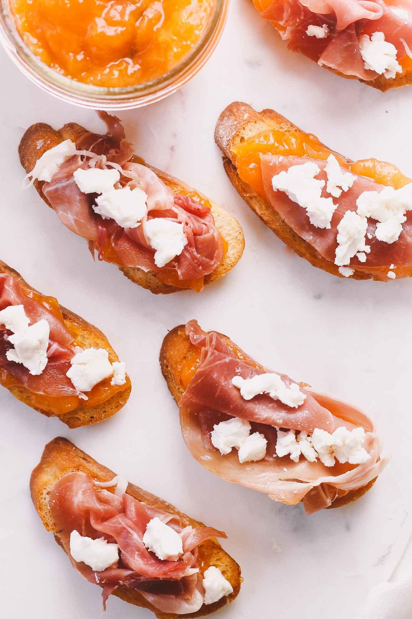 Prosciutto Goat Cheese Canteloupe Jam Crostini Plays