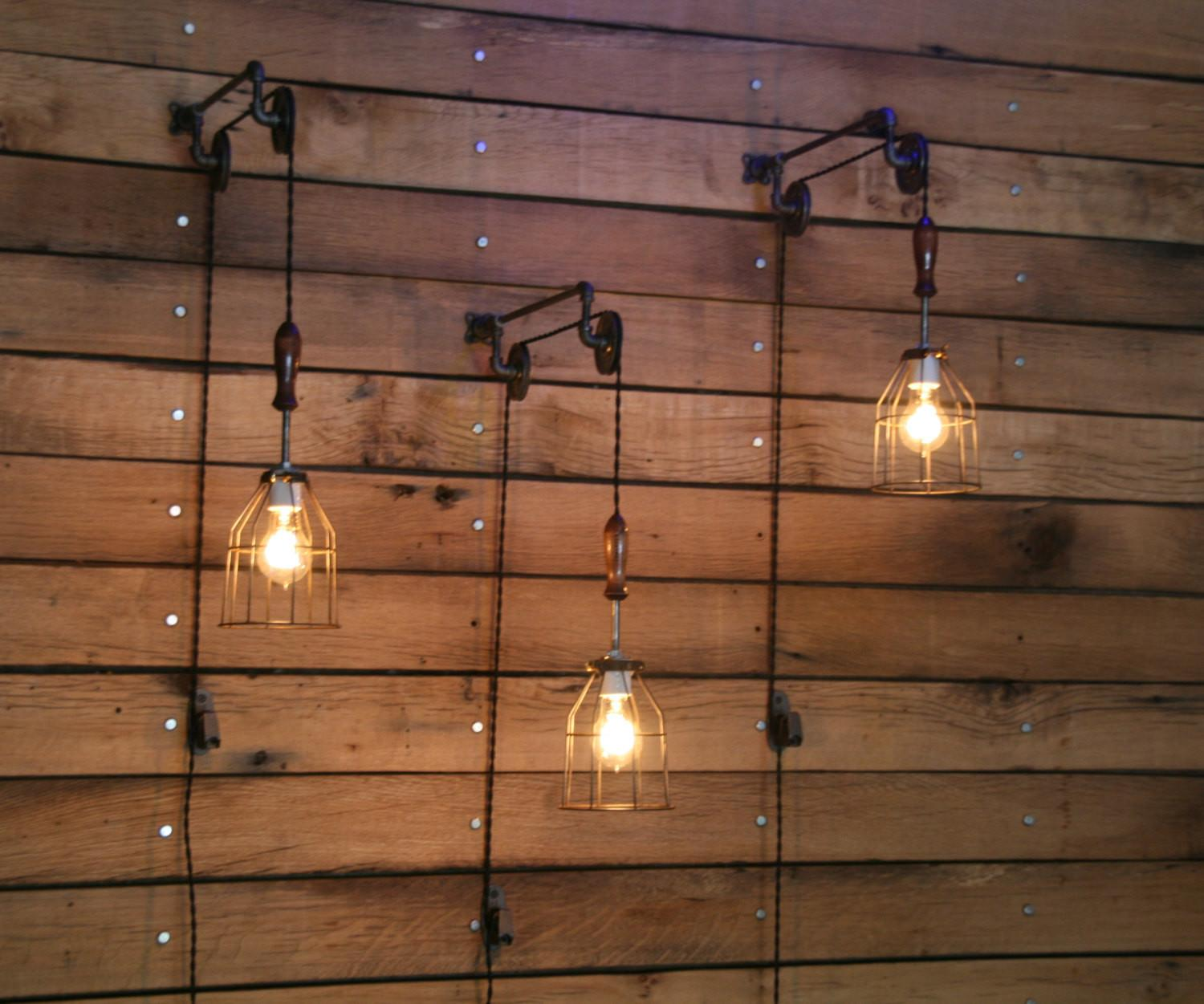 Pulley Wall Mount Industrial Cage Light Wooden Handle