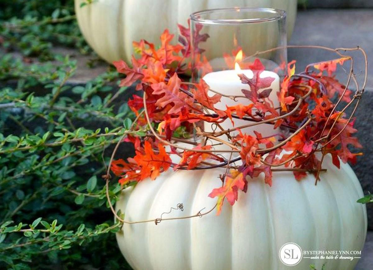 Pumpkin Candle Holder Autumn Decorating Ideas Easy