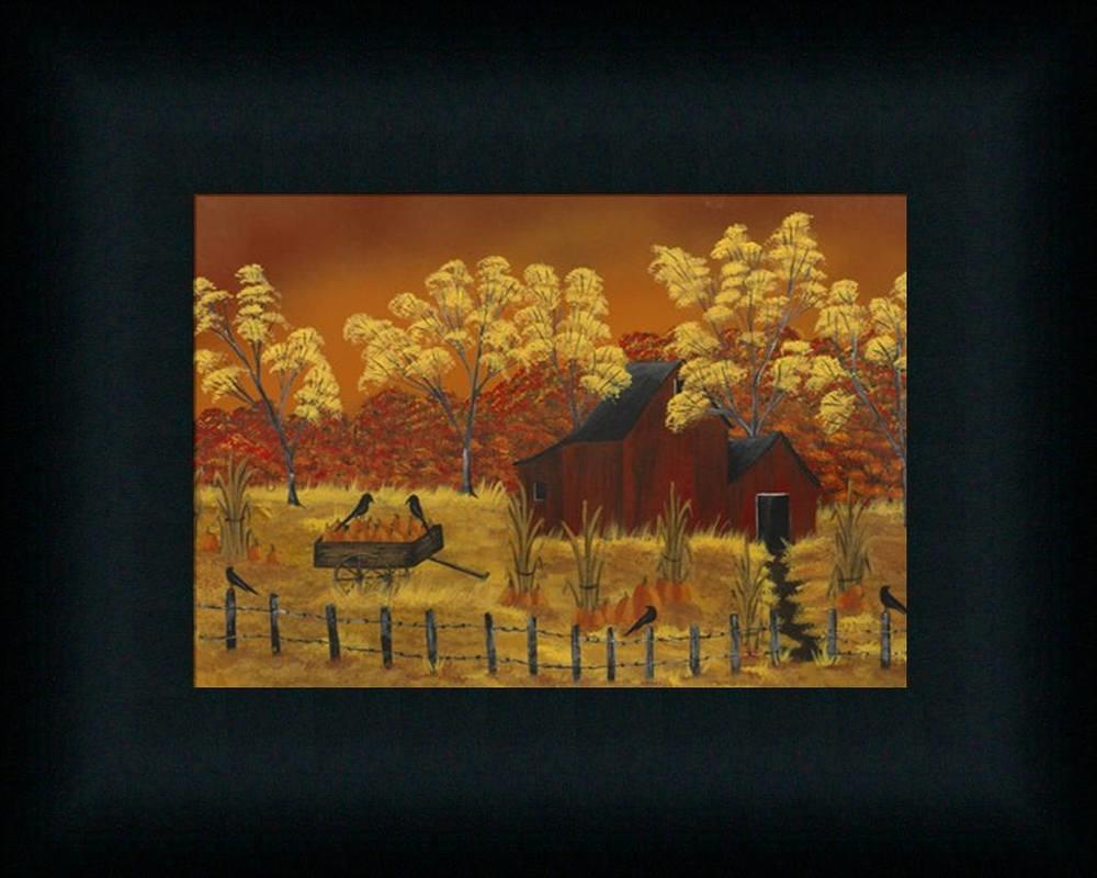 Pumpkin Harvest Country Autumn Landscape Framed Art Print
