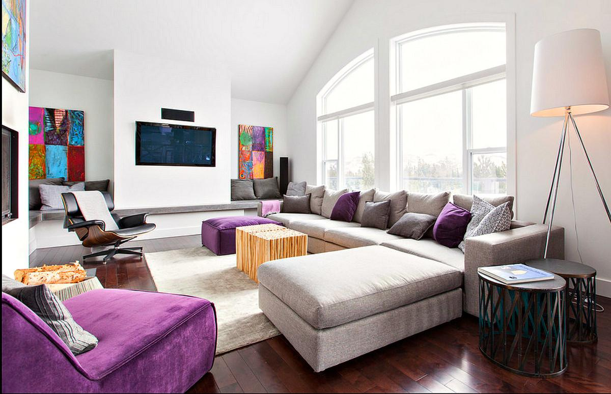 Purple Grey Modern Decor Family Room Just Decorate