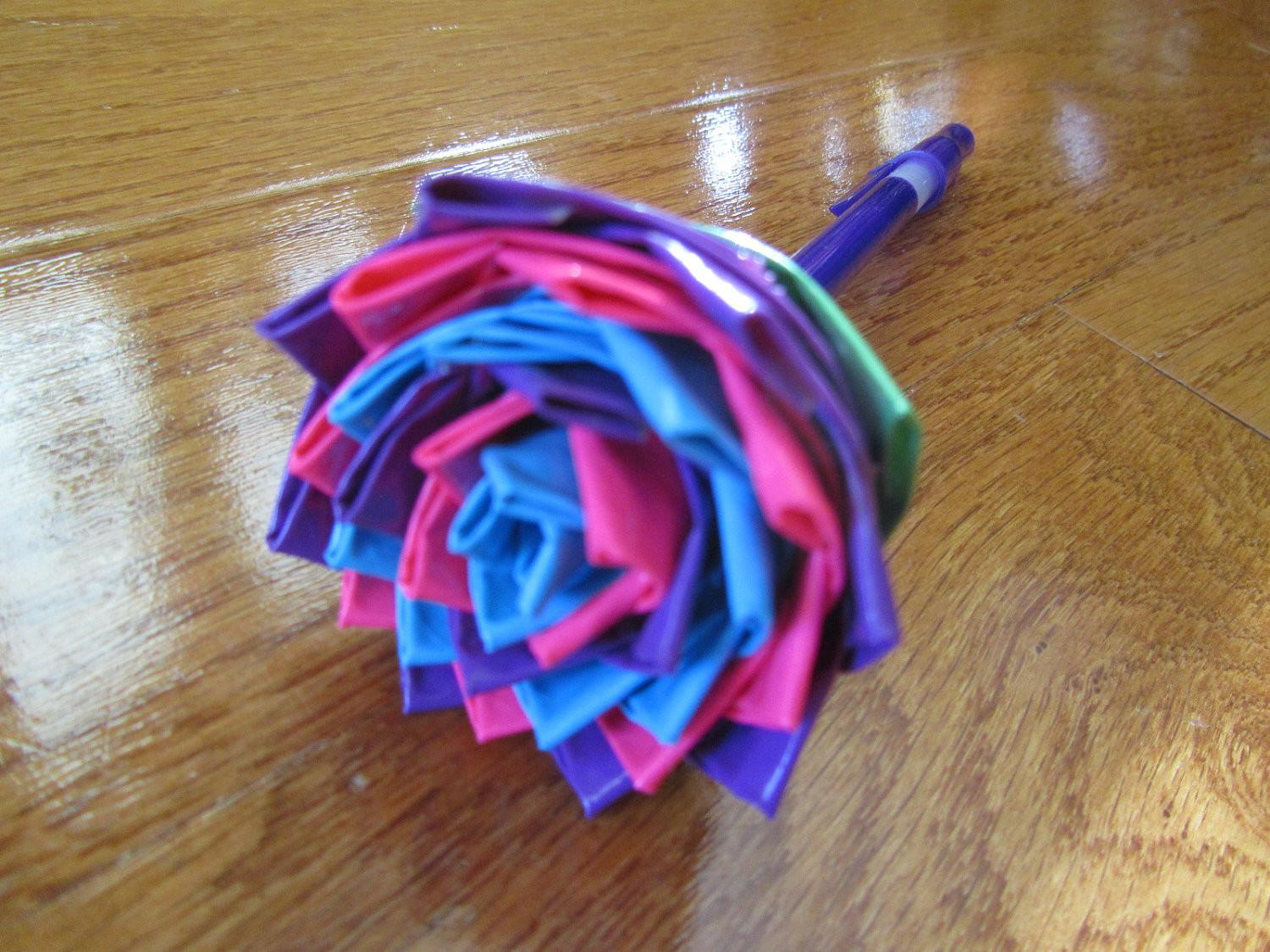 Purple Pink Blue Duct Tape Flower Pen