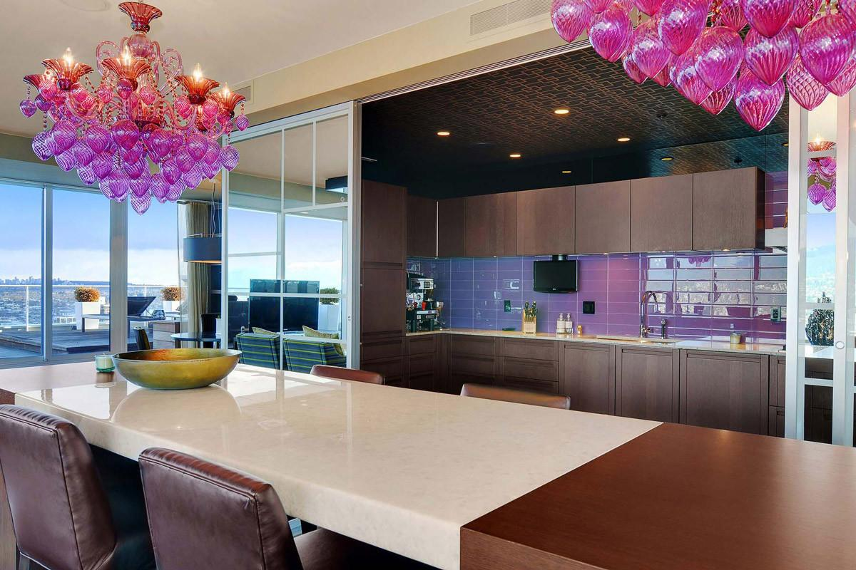 Purple Pink Chandelier Dining Table Kitchen Beautiful