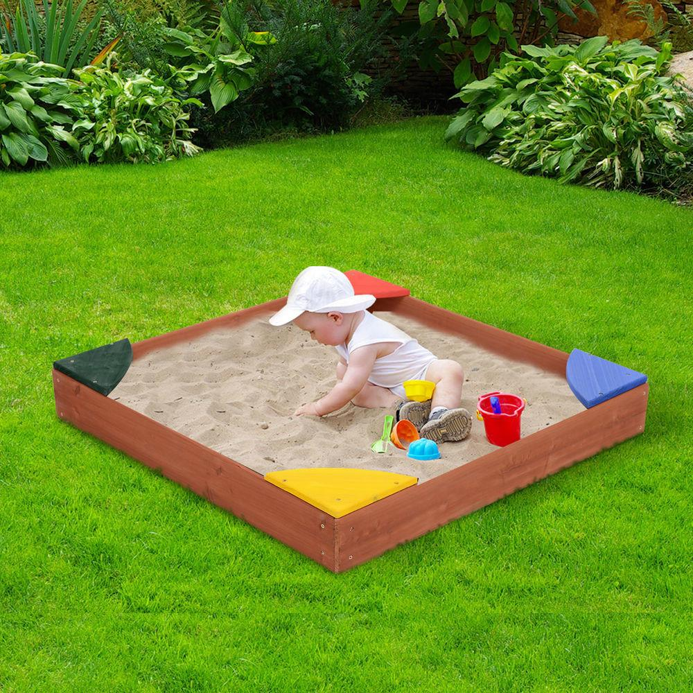 Qaba Wooden Kids Play Sandbox Seats Covered Sand Pit
