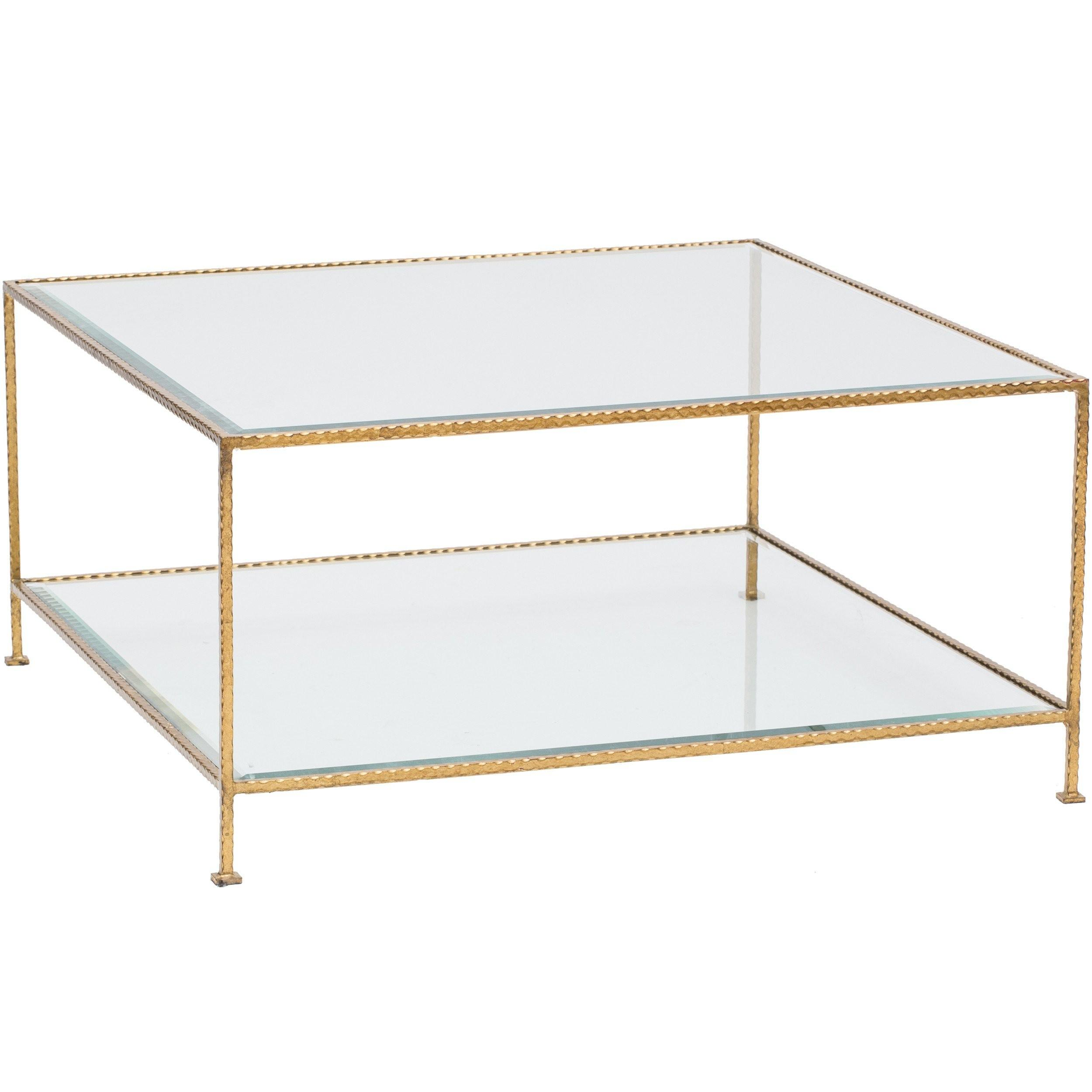 Quadro Tier Square Coffee Table Gold Furniture