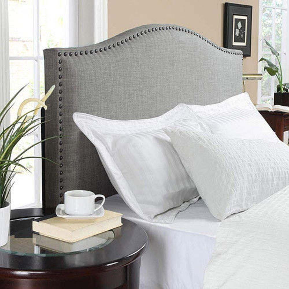 Queen Bed Headboard Bedroom Modern Faux Linen Gray