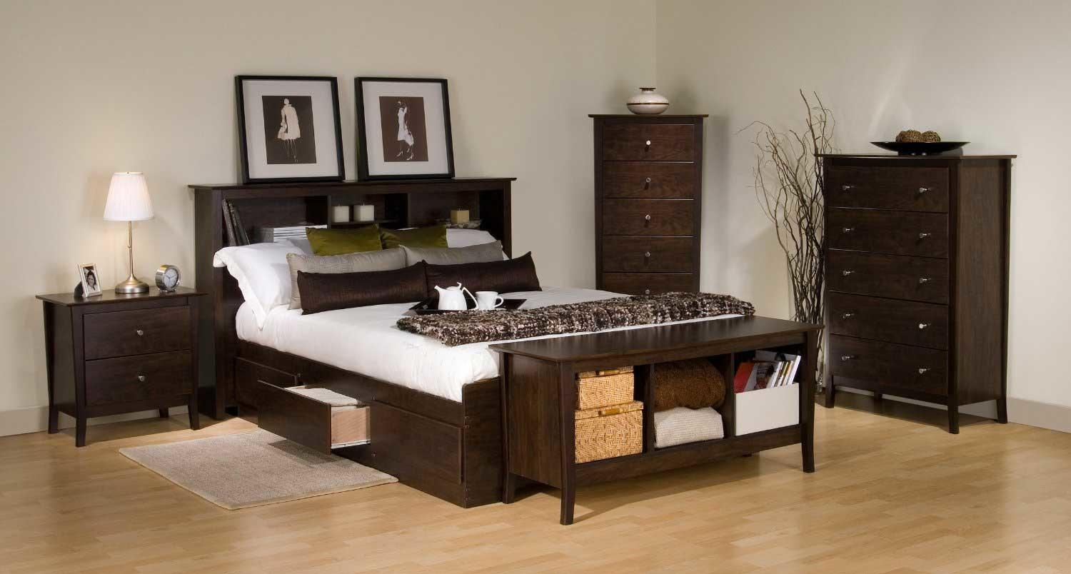 Queen Lacquered Brown Walnut Wood Captain Bed Frame